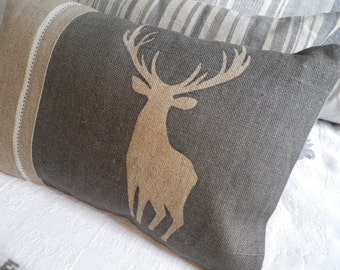 hand printed charcoal stag cushion cover