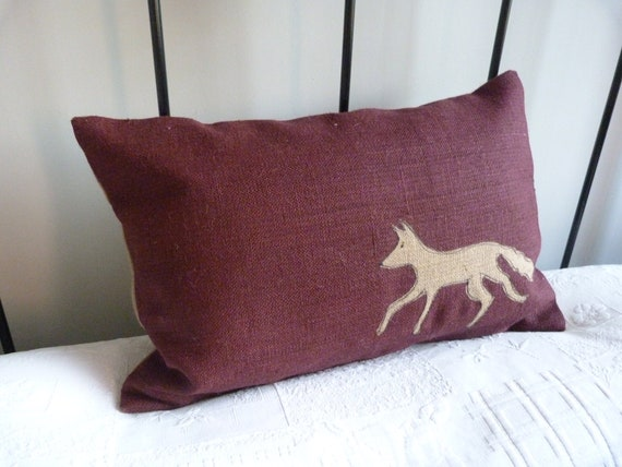 hand printed deep red fox cushion cover