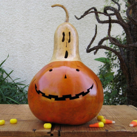 Natural Halloween Decorations: Halloween Jack O Lantern Gourd Natural Carved By