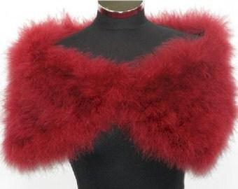 HOLLYWOOD NOSTALGIC GLAMOUR - Red - Soft Marabou Feather Stole Wrap Shrug Cape- Plus sizes available