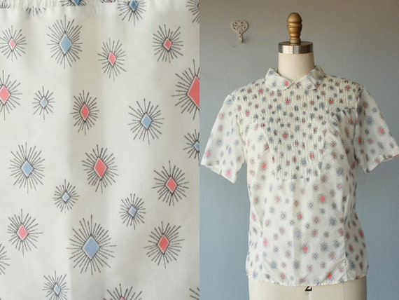 1950s blouse / 50s blouse / peter pan collar blouse / 50s shirt - size medium