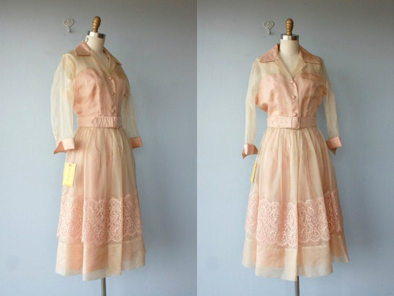 1950s dress / 50s dress / party dress / champagne blush illusion full skirt  / 50s cocktail dress - size medium