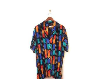 Vintage 80s Oversized Colorful Southwestern Button Up Blouse s m l