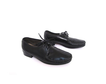 Vintage 80s Black Leather Handmade Irish Lace Up Oxfords men 10.5