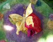 Hair Clip, Golden Butterfly Rose
