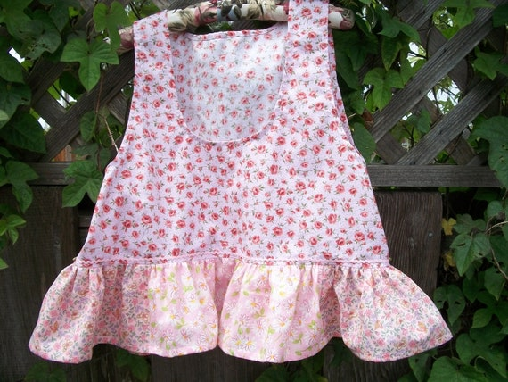 Ruffle Crop Top Pink Calico Flowers Baby Doll Style