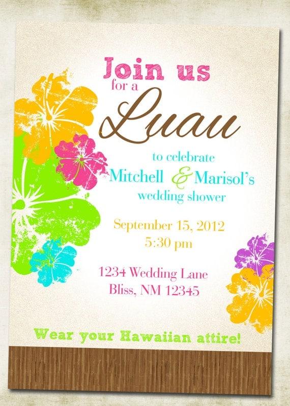 luau hawaiian themed invitation