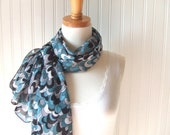 Cloudy Day Chiffon Scarf  - Teal, Grey and Black