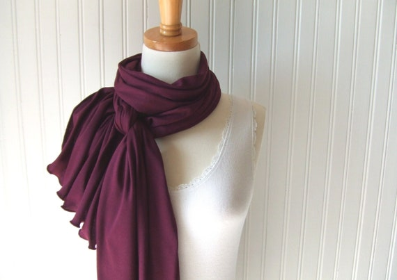 Garnet Red Jersey Scarf Extra Long Fall Fashion