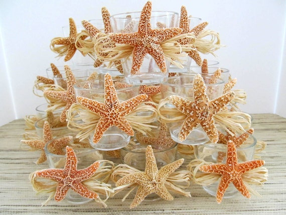 RESERVED Listing for Angela, Beach Wedding Decor Sugar Starfish Votives with Natural Raffia