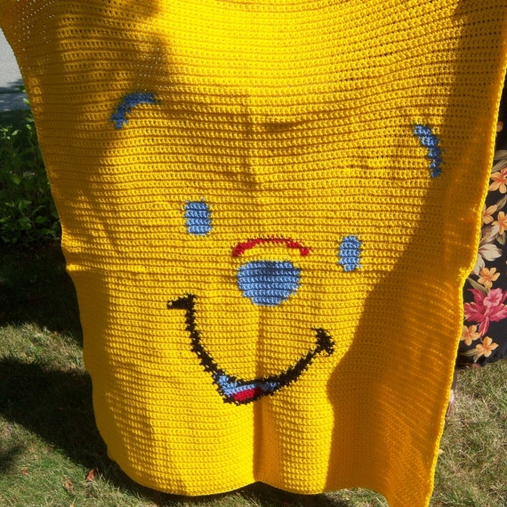 Baby Blanket - Crib Size - Crocheted - Winnie the Pooh - 38 x 46 Inches