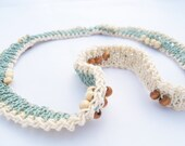 knit necklace REVERSIBLE with brown / beige beading and green / beige thread