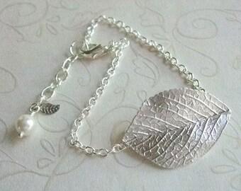 Silver Leaf Bracelet, Bridesmaid Jewelry, Botanical Jewelry