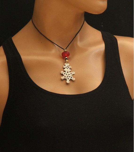 Coptic cross necklace handmade cross African beads Star of David cross necklace