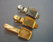 Vintage Tie Clips Cabochon 20mm x 15mm Setting 2 Goldtoned 1 Silvertoned Setting Jewerly Making