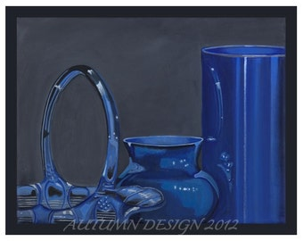 Blue Glass Collection Original Painting 11 X 14