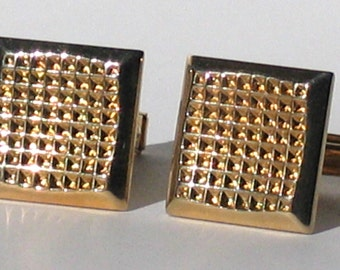 Vintage Gold Tone Cufflinks, Square Cut, Weddings, Graduations