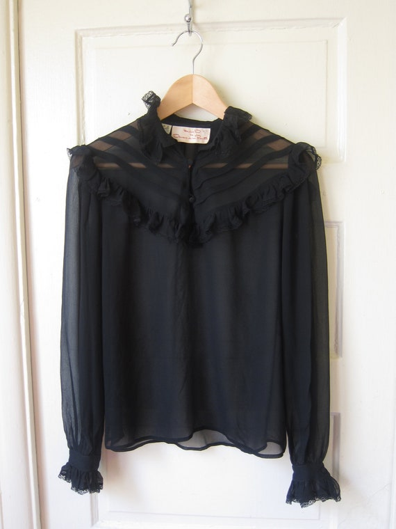 """70s Vintage Black Silk and Lace Black Victorian Style Blouse """"Miss O"""" by Oscar De La Renta S - Matching Skirt"""