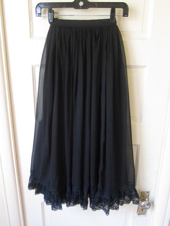 """Vintage 70s """"Miss O"""" by Oscar De La Renta Black Silk & Lace Full Skirt XS"""