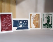 Set of 4 Swimmer Cards. Original Artwork. 5in by 7in. Blank Cards. Handmade by Amanda Marie Studios