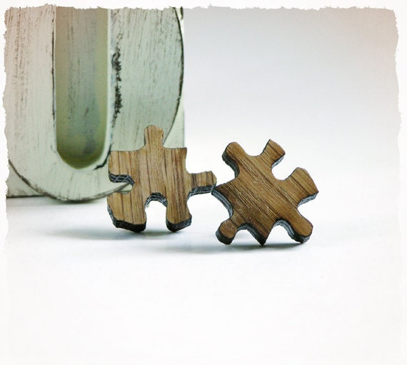 POST STUD EARRINGS - Mini Puzzle Charms - Laser Cut Oak Wood - Childhood's toys inspired