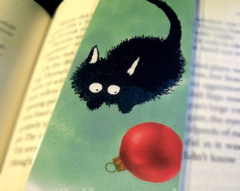 Black Cat Pounces Christmas Ornament Illustrated Bookmark