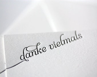 danke vielmals - letterpress thank you cards in german