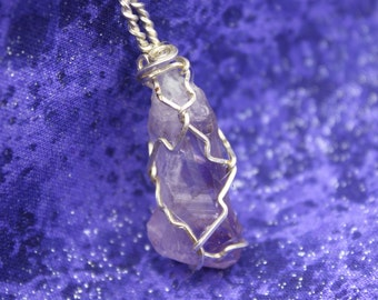 Lavender Morning - Amethyst Pendant Wire Wrapped in Silver