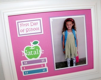 First Day of School Photo Keepsake Mat - Personalized - Back To School Picture Mat - 8x10 Unframed ANY COLORS