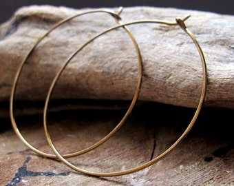 2 inch Hoop Earrings - Bronze Hammered Hoops - Large Modern Ear wires - Round Circle Hoops / Everyday Earrings / Medium Earrings / Delicate