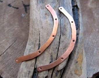 Necklace Connectors - Curved Bars - 2 Hammered Multiple Holes Bars Set - Copper Paddles - 5 Holes Flat Spacer Bar Handmade Jewelry Supplies
