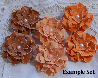 You Choose Colors - Handmade Paper Flowers Sweet and Shabby Wild Roses Set of 6 Scrapbook Craft Embellishments