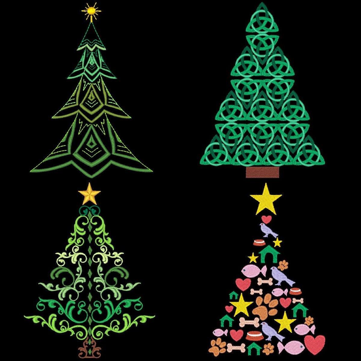 CHRISTMAS TREE MEDLEY No. 2 36 Machine Embroidery Designs