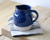 Midnight blue pottery pouring jug - hand thrown stoneware pottery