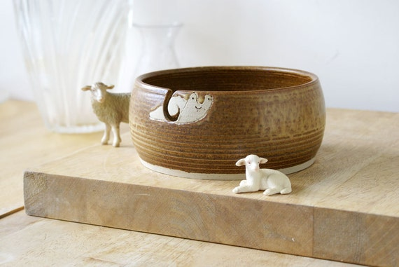 SALE - The happy snail yarn bowl, hand thrown and glazed in natural brown