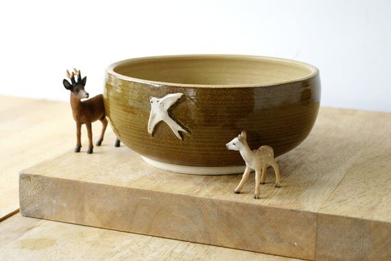 Stoneware pottery bowl with summer swallow - wheel thrown and glazed in toffee brown