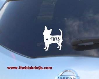 Chihuahua Silhouette Vinyl Sticker Car Decal Personalized