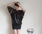 copper sequin blouse . metallic bronze batwing top .small.medium.large .sale