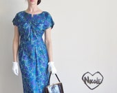 mod floral dress . classic proper 1960 church dress .extra large.plus size - DOTTO