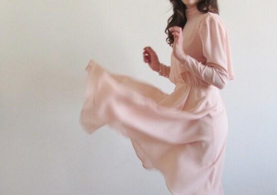 peach pink high collar dress . Ursula of Switzerland . 1940 style .medium .sale