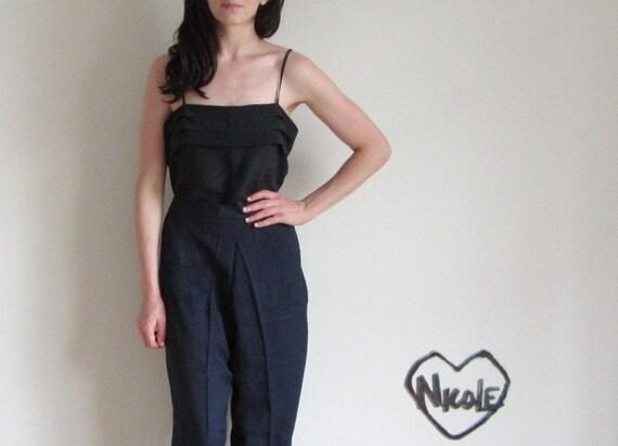 midnight blue high waist trouser . lightweight rayon pant .small.medium .sale s a l e