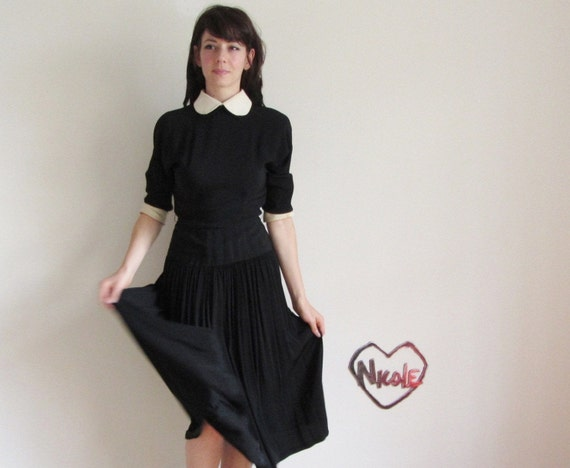 1940 wednesday addams dress . peter pan collar . drop pleat skirt .small