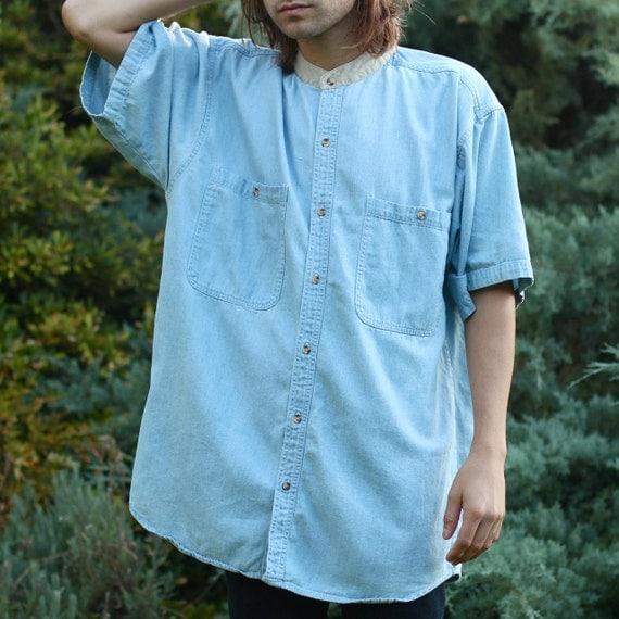 Oversized Band Collar Light Denim Shirt