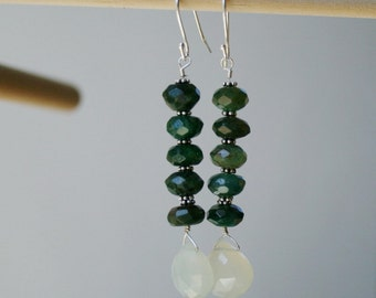 Emerald stone earrings, green stone jewelry, sterling silver, chalcedony, beaded drop earrings