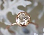 7.5mm Moissanite 14K Rose Gold Engagement Ring, Stacking Ring - Made To Order