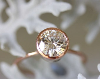 7.5mm Moissanite 14K Rose Gold Engagement Ring, Stacking Ring - Made To Order