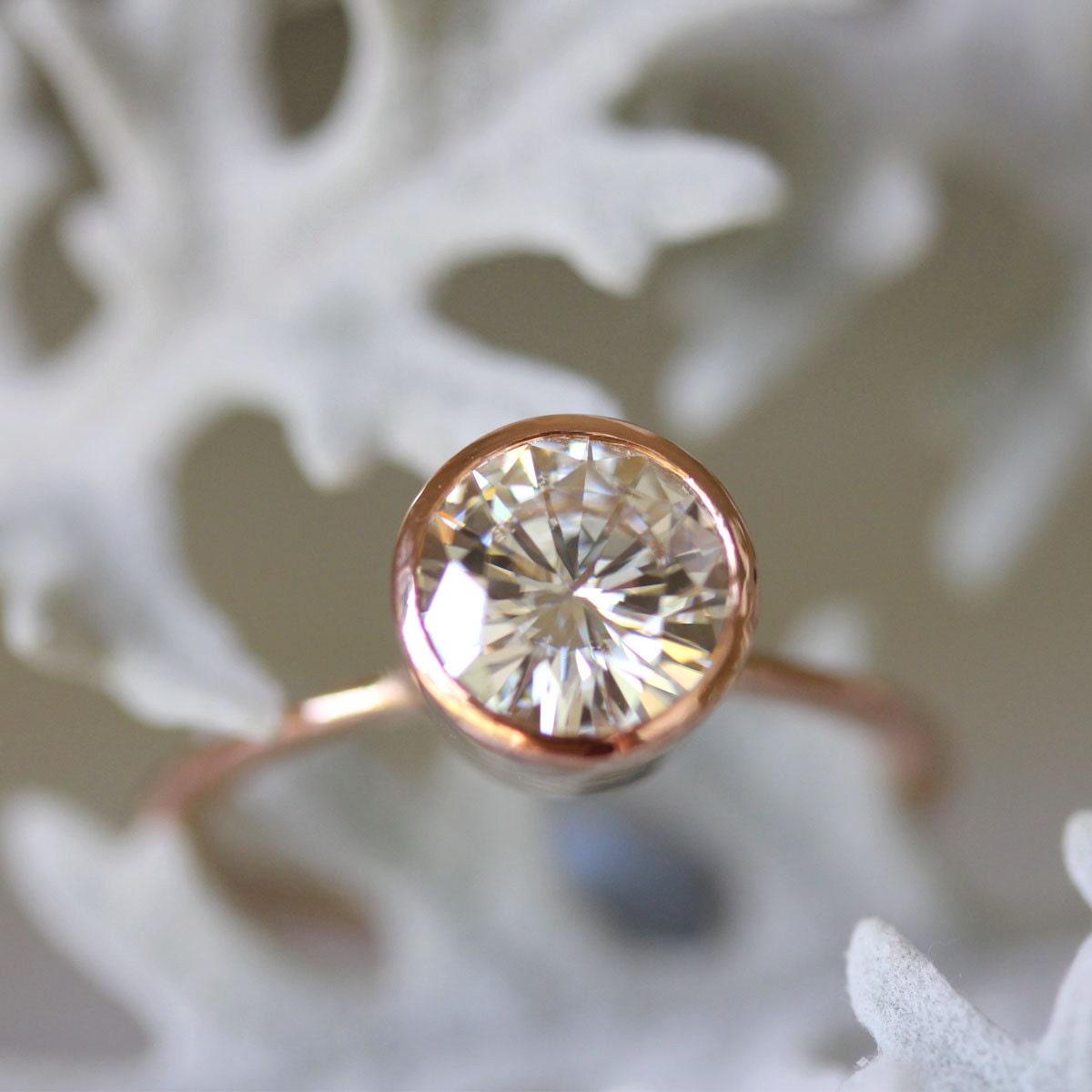 Engagement Rings With Moissanite: 7.5mm Moissanite 14K Rose Gold Engagement Ring Stacking Ring