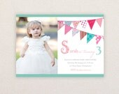 Photo Birthday Party Invitations. Sweet Fabric Bunting Design. I Customize, You Print.