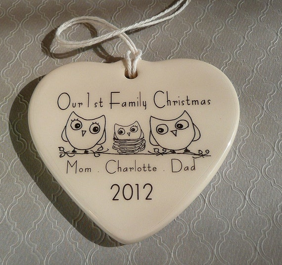 Our 1st Family Christmas Porcelain Heart Ornament Owls with