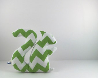 Squirrel Plush Stuffed Animal Squirrel Softie Baby Toy Chevron Green White
